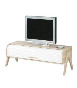 Meuble TV bois clair à rideau blanc et rangements Vintagy