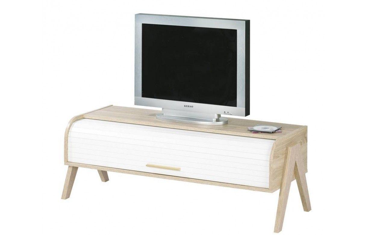 Meuble Tv Bois Clair Rideau Blanc Et Rangements Vintage # Meuble Tv Extensible Et Pivotant