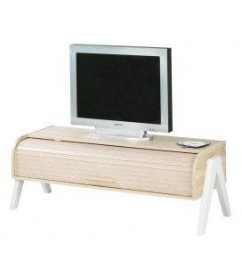 Meuble TV bois clair avec rangement à rideau déroulant Vintagy -
