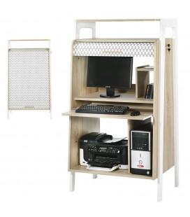 Bureau armoire informatique bois clair avec rideau déco Vintagy