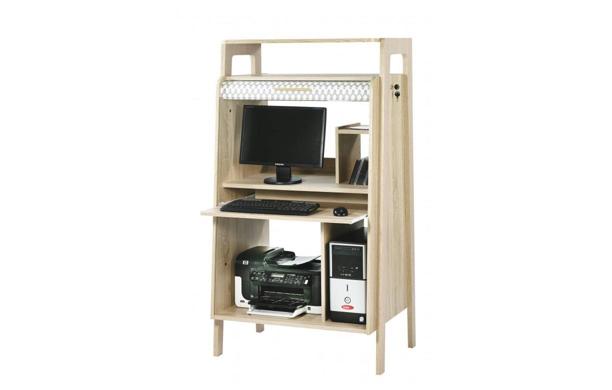 Bureau armoire informatique bois clair avec rideau d co for Meuble a rideau bureau