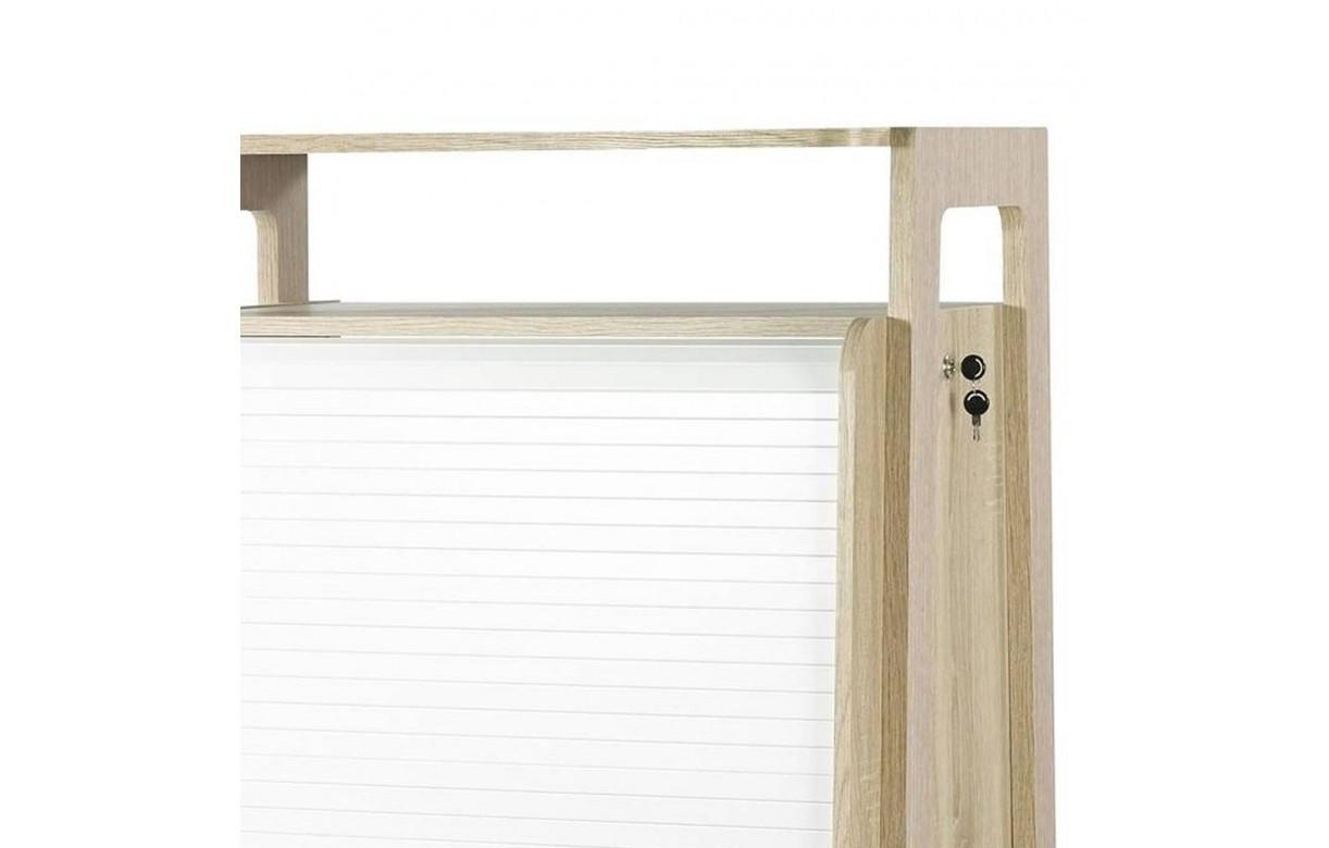 bureau scandinave informatique bois clair et blanc rideau vintage. Black Bedroom Furniture Sets. Home Design Ideas