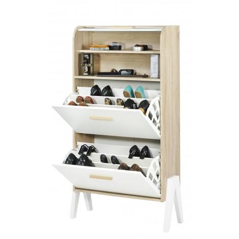 Meuble A Chaussure Blanc Et Bois.Meuble A Chaussures Bois Et Blanc Style Scandinave Avec Rideau Vintagy