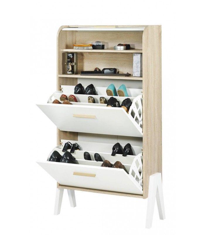 Meuble A Chaussures Bois Et Blanc Style Scandinave Avec Rideau
