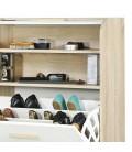 Meuble à chaussures bois et blanc style scandinave avec rideau Vintagy -