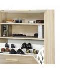 Rangement de chaussures bois clair naturel avec rideau Vintagy -