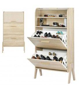 Rangement de chaussures bois clair naturel avec rideau Vintagy