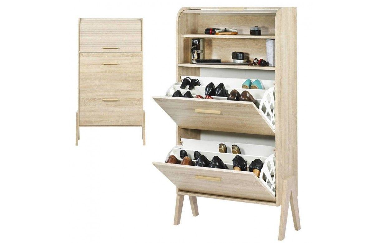 Rangement de chaussures bois clair naturel avec rideau vintagy for Meubles bois clair