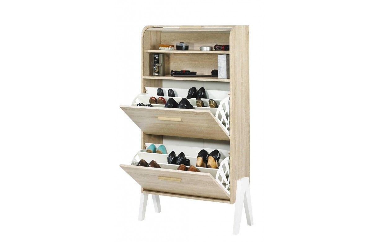 rangement de chaussures bois clair naturel avec rideau vintagy. Black Bedroom Furniture Sets. Home Design Ideas