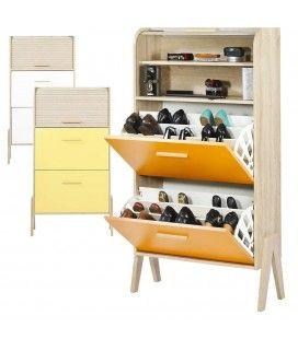 Meuble à chaussures orange jaune ou blanc et bois clair Vintagy
