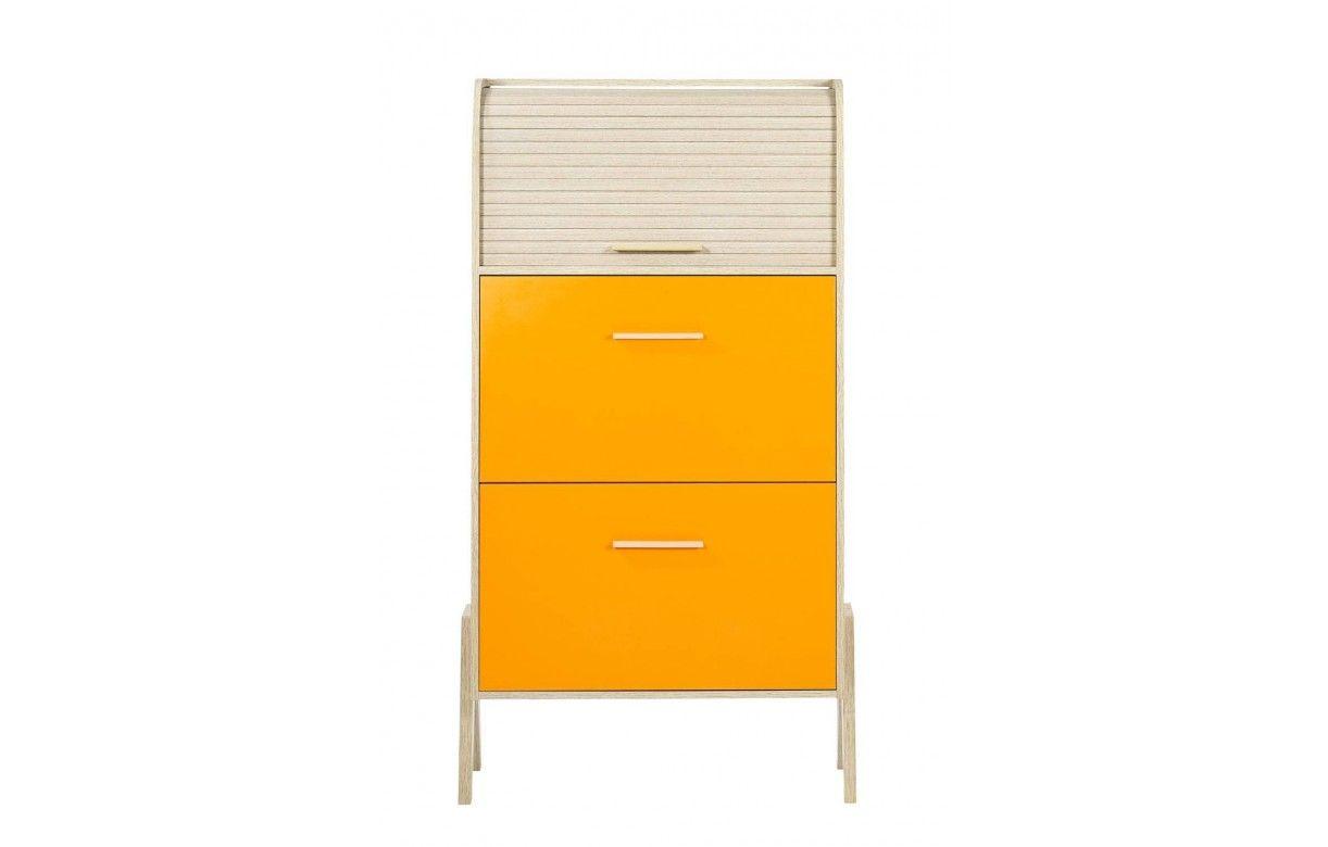 Meuble Chaussures Vintage Orange Jaune Ou Blanc Et Bois Clair # Meuble Jaune