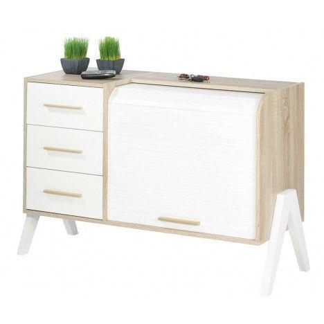 Buffet style scandinave 3 tiroirs et 1 rideau déroulant Vintagy -
