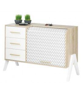 Meuble de rangement blanc 3 tiroirs et 1 rideau déroulant Vintagy