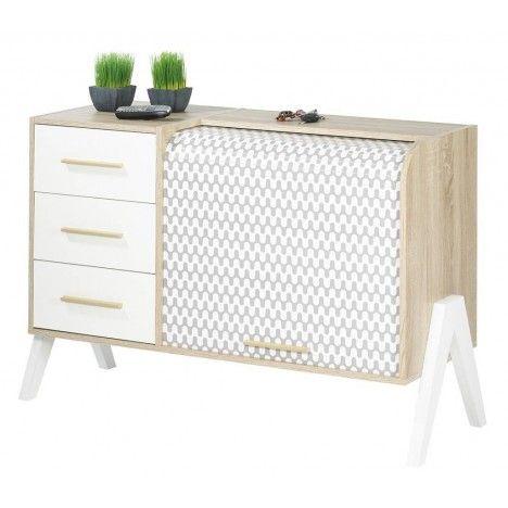 Meuble de rangement blanc 3 tiroirs et 1 rideau déroulant Vintagy -