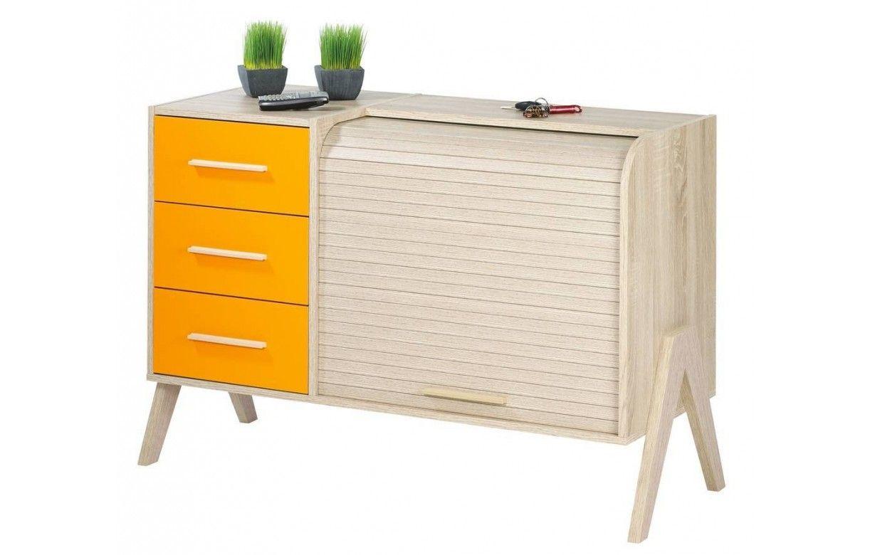 buffet vintage scandinave bois 3 tiroirs et 1 rideau. Black Bedroom Furniture Sets. Home Design Ideas