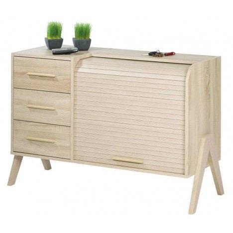 Rangement design scandinave bois clair 3 tiroirs et 1 rideau déroulant Vintagy -