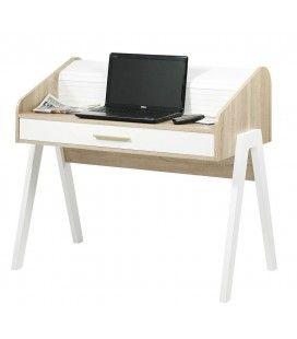 Bureau en bois style scandinave avec tiroir et rideau Vintagy