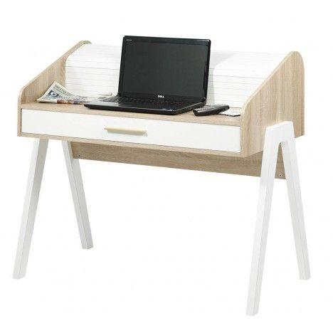 Bureau en bois style scandinave avec tiroir et rideau Vintagy -