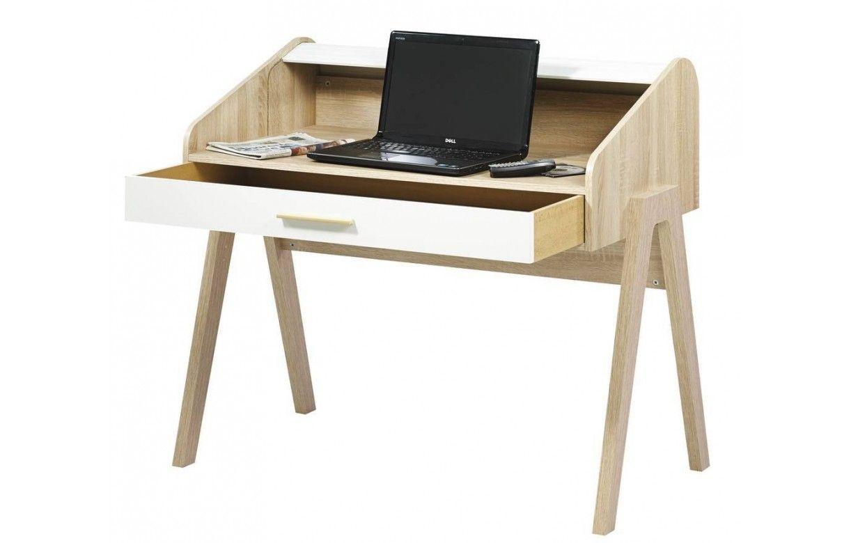 Bureau en bois style scandinave avec tiroir et rideau