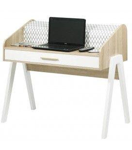 Bureau scandinave bois et blanc avec tiroir et rideau déco Vintagy