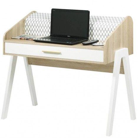 Bureau scandinave bois et blanc avec tiroir et rideau déco Vintagy -