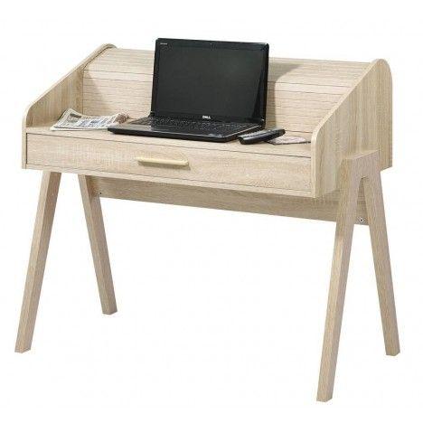 Bureau en bois clair tiroir et rideau design scandinave Vintagy -