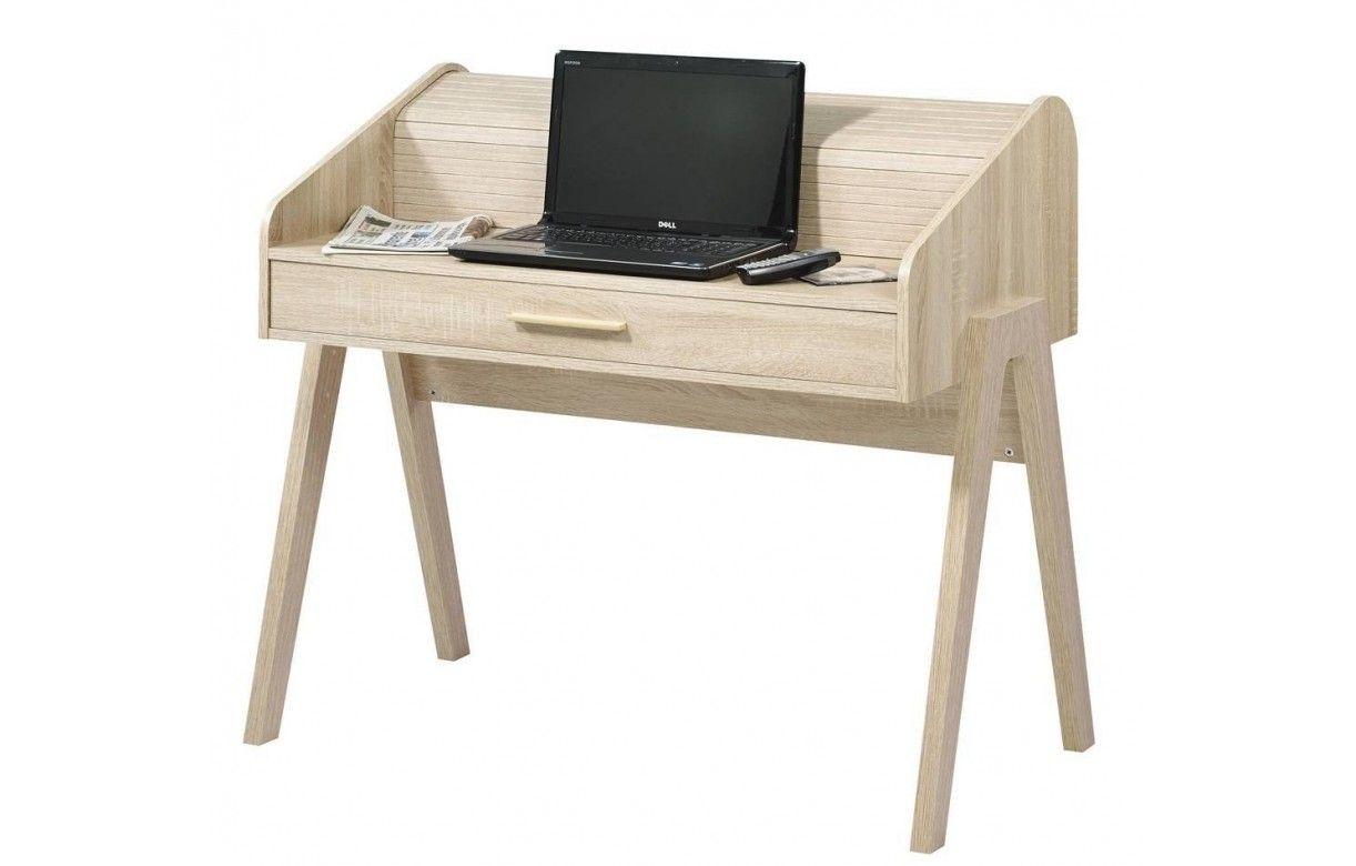 Bureau en bois clair tiroir et rideau coulissant vintage