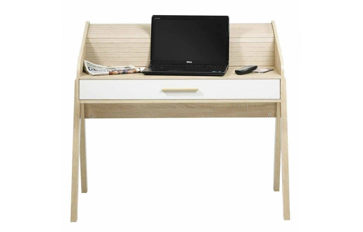 Bureau vintage scandinave en bois avec tiroir et rideau for Petit bureau avec tiroir