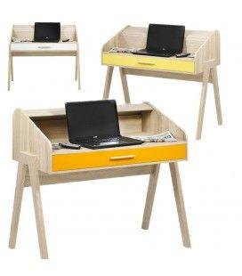 Bureau vintage scandinave en bois avec tiroir et rideau Vintagy