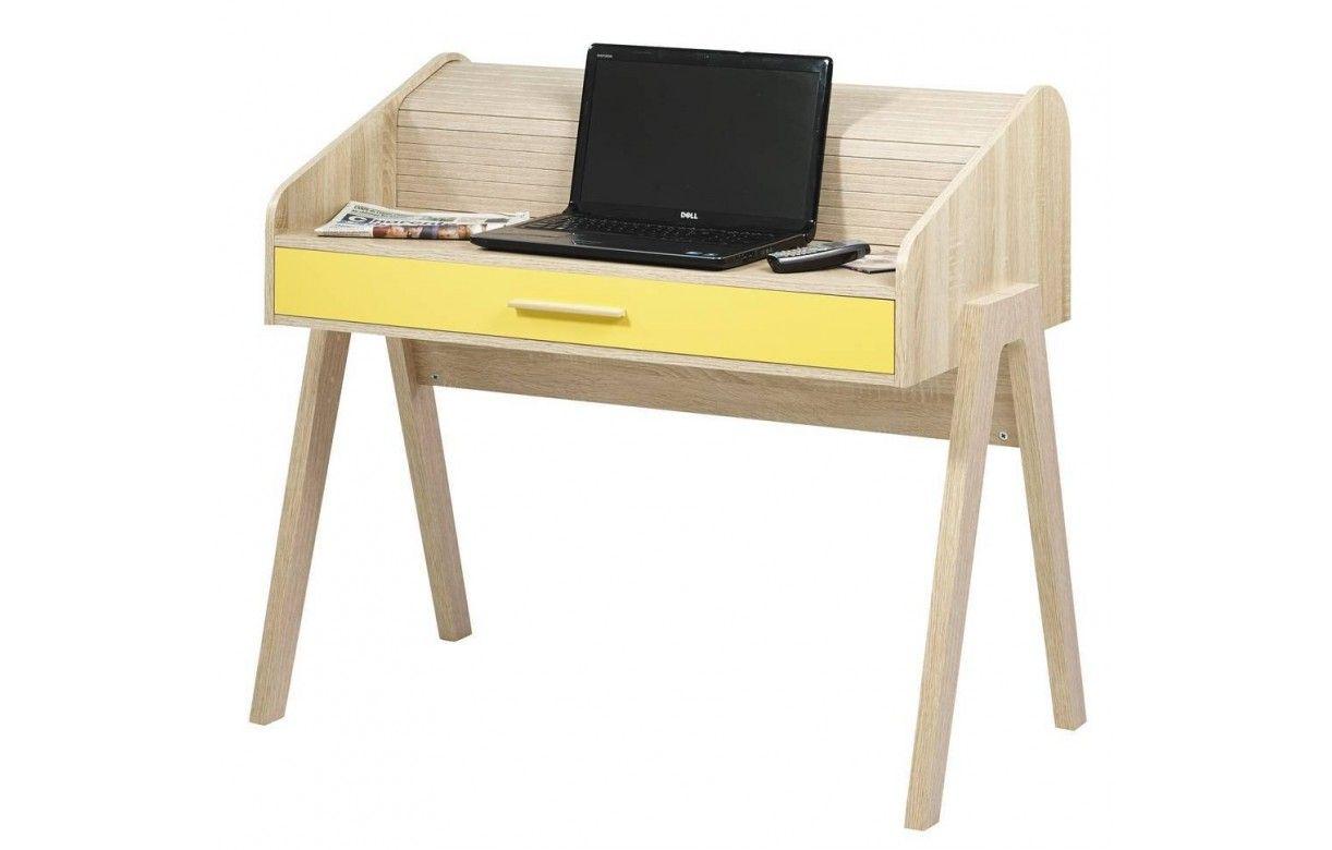 Bureau vintage scandinave en bois avec tiroir et rideau