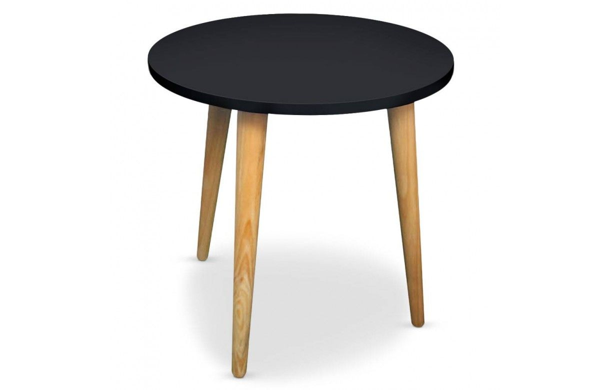 Table basse ronde bois et blanc ou noir style scandinave for Table basse noir scandinave