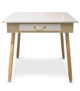 Bureau blanc et bois design scandinave avec tiroir Fjordy -