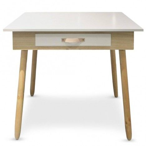 bureau blanc et bois design scandinave avec tiroir. Black Bedroom Furniture Sets. Home Design Ideas