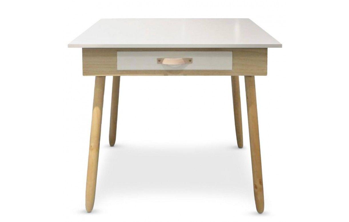 Bureau blanc et bois design scandinave avec tiroir
