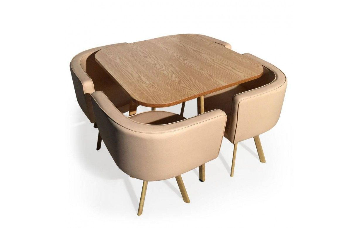 Table et 4 chaises encastrables scandinaves - Chaise pour table a manger ...