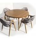 Table ronde pieds en bois et plateau bois ou blanc Nory -