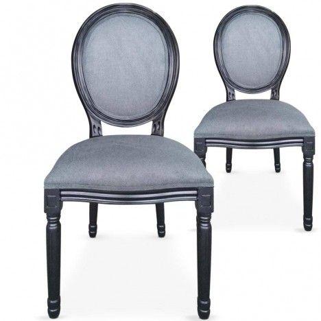 Lot de 2 chaises médaillon Louis XVI Royaly -
