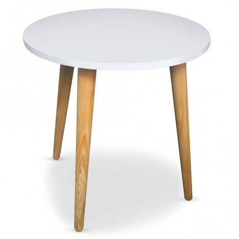 Table basse ronde style scandinave blanche ou noire Typy -