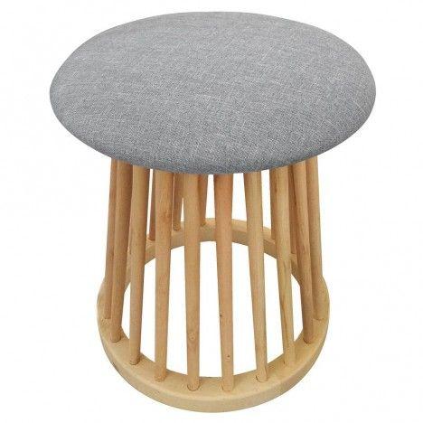 Petit tabouret design style scandinave bois et tissu clair Nory -