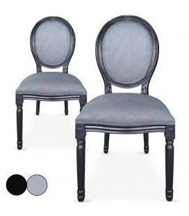 Lot de 2 chaises médaillon Louis XVI Royaly -