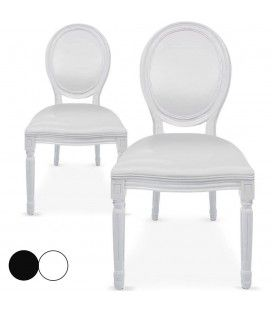 Lot de 2 chaises médaillon en simili cuir Royaly