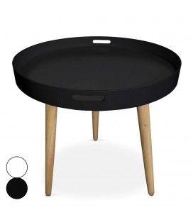 Table basse plateau ronde noire ou blanche Typy -