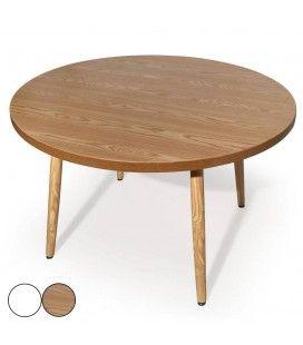 Table ronde pieds en bois et plateau bois ou blanc Nory