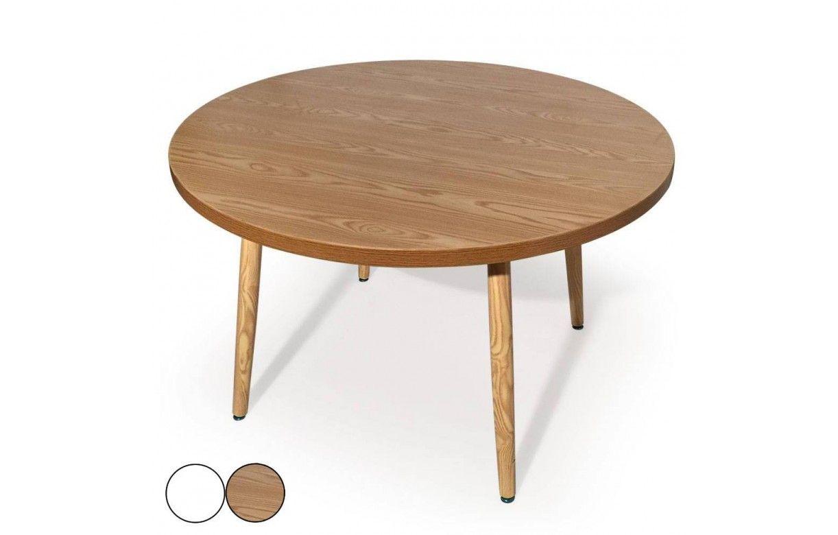 Table ronde pas ch u00e8re pieds en bois et plateau bois ou blanc # Table Ronde Bois Et Blanc