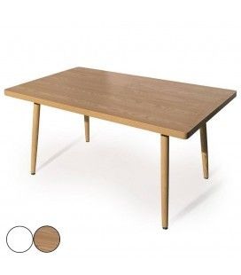 Table rectangulaire scandinave blanche ou bois Fory -