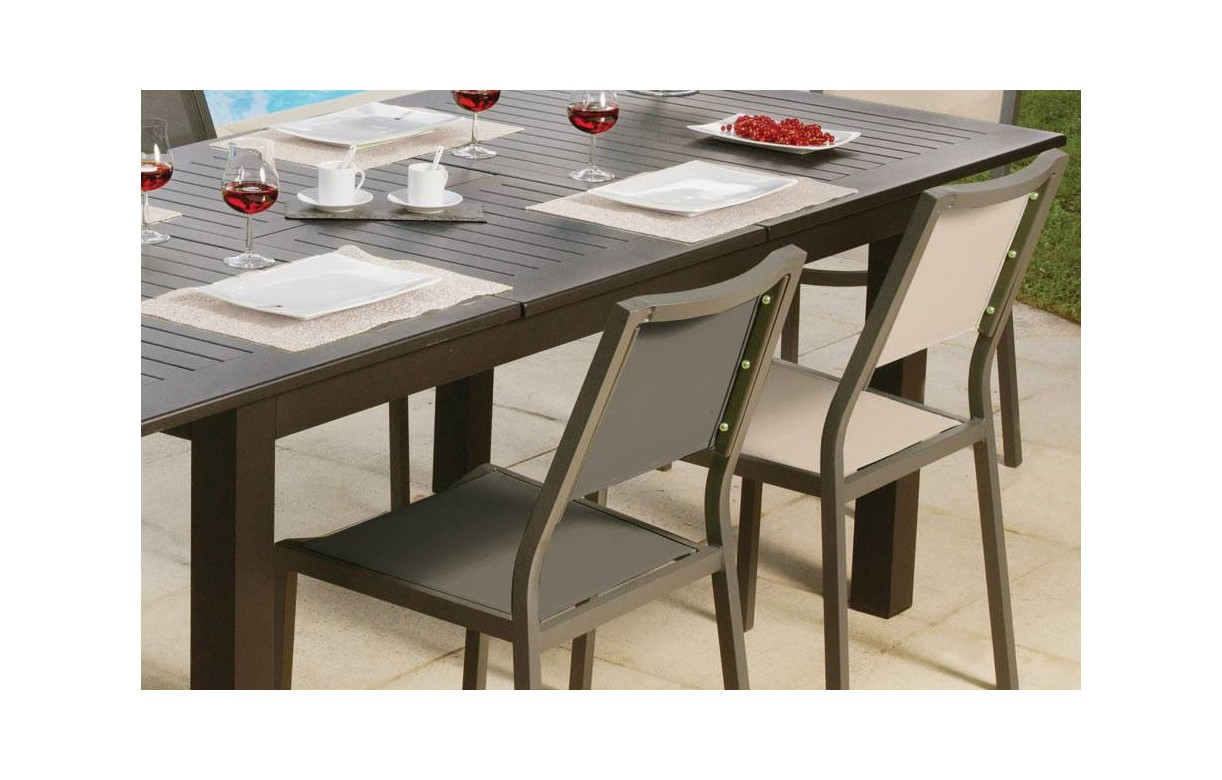 table de jardin rallonges avec 6 ou 8 chaises gris et beige. Black Bedroom Furniture Sets. Home Design Ideas