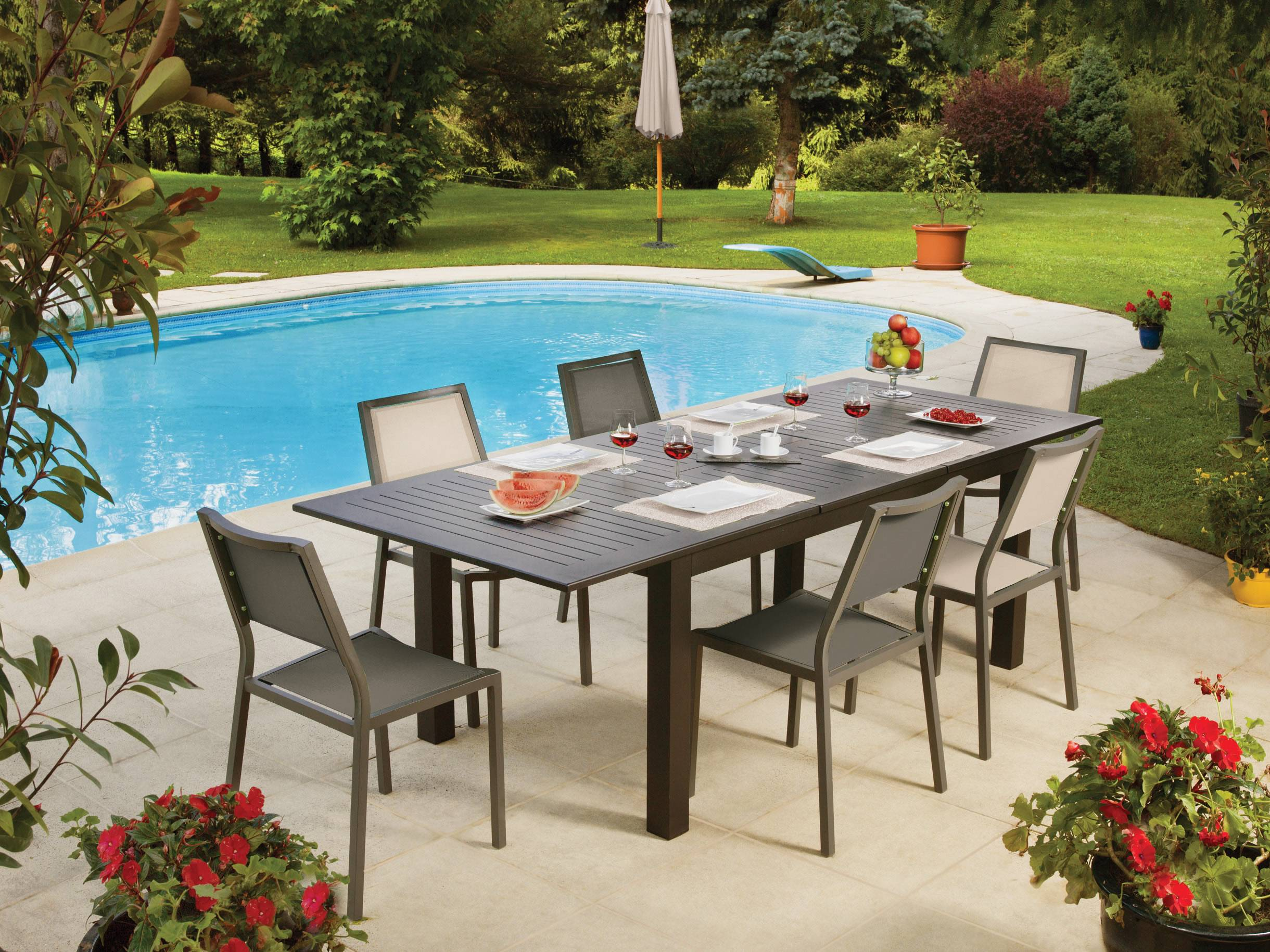Ensemble table et chaise de jardin en aluminium table - Table de jardin extensible mr bricolage ...