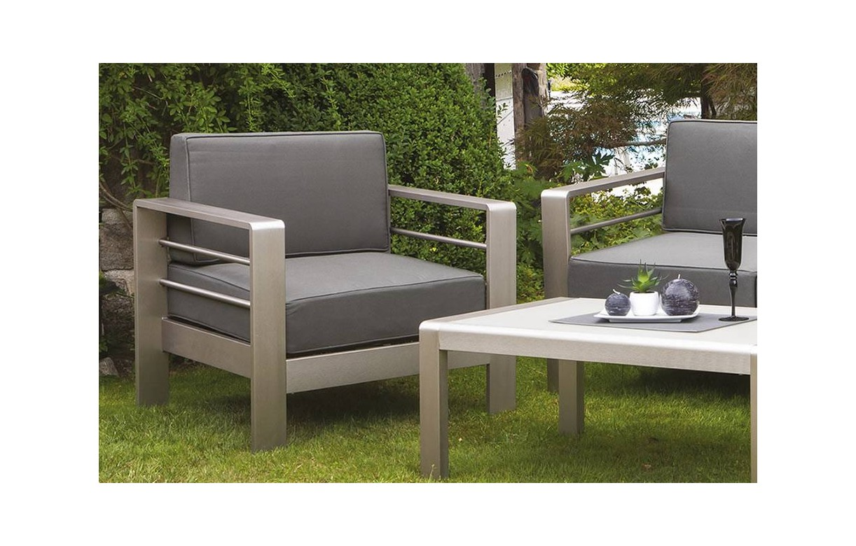 salon de jardin haut de gamme taupe en aluminium bross. Black Bedroom Furniture Sets. Home Design Ideas