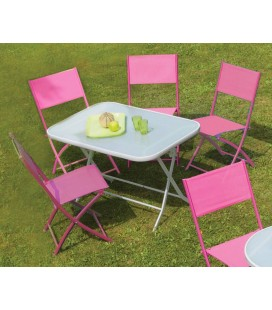 Table de jardin pliante et 4 chaises assorties