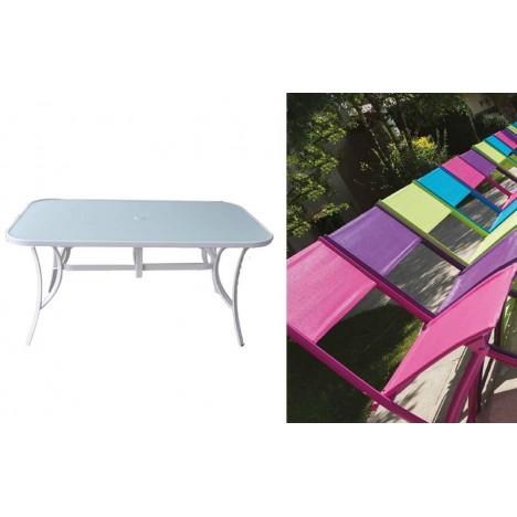 Table de jardin pliante et 4 chaises assorties -
